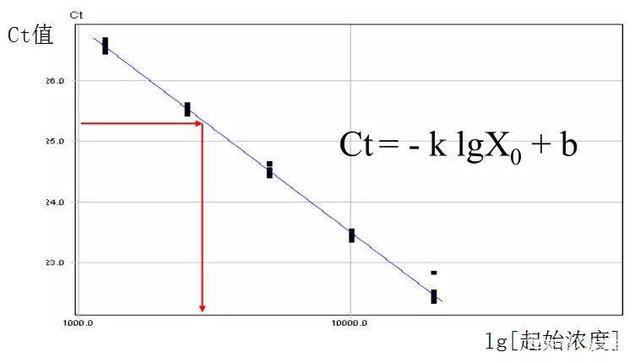 图3 起始浓度与Ct值的关系图