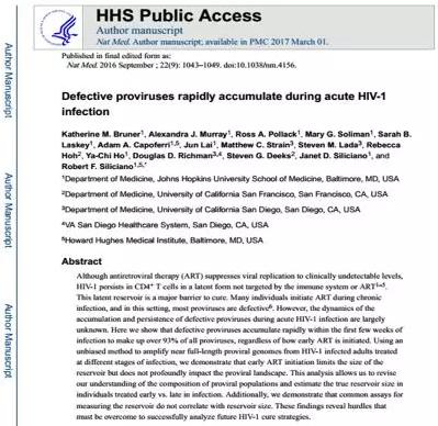 图15 《有缺陷的原病毒在急性HIV-1感染中的快速积累》