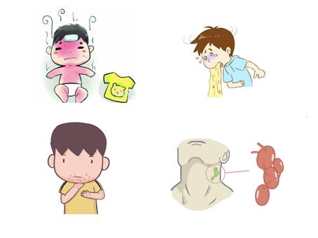 发热,可伴有咽痛、盗汗、恶心、呕吐、腹泻、皮疹、关节疼痛、淋巴结肿大及神经系统症状